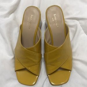 Yellow slip on block Kate Spade heels